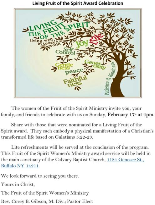 Living Fruit of the Spirit Award Celebration